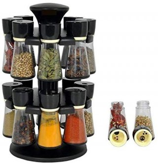 Battlane High Quality Multipurpose Revolving Masala Rack, Spice Rack 16 Jar Set
