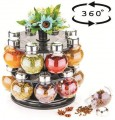 Battlane Multipurpose Revolving Spice Rack 16 Jar Condiment Set - Metallic Siver Finish