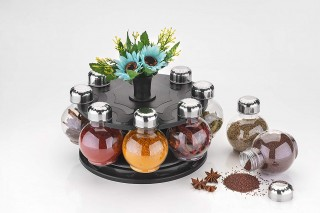 Battlane Multipurpose Revolving Spice Rack 8 Jar Condiment Set - Metallic Siver Finish