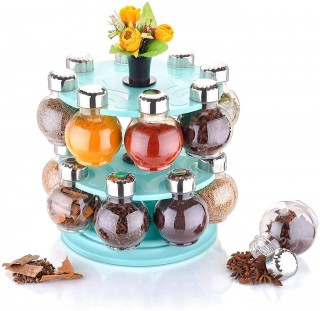Battlane Revolving Spice Rack Round Shape Transparent Jar (Pack of 16) Sky Blue