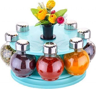 Battlane Revolving Spice Rack Round Shape Transparent Jar (Pack of 8) Sky Blue