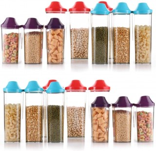 Battlane Colourful Storage Container Jar for Kitchen 1700ml 4 pc + 1100 ml 4 pc + 750 ml 4 pc, Pack of 12
