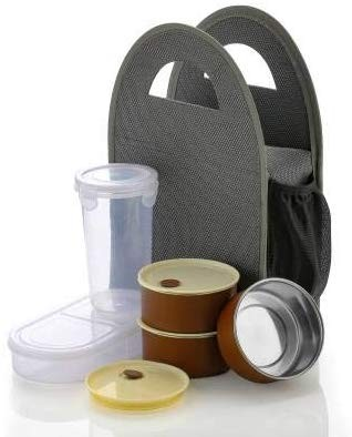 Battlane Lunch Boxes for School/Office, 5 Containers (500 ml) - Grey