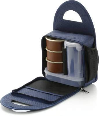 Battlane Lunch Boxes for School/Office, 5 Containers (500 ml) - Blue