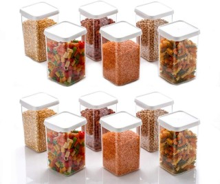 Battlane Kitchen Storage Container (Square) 1100 ml, Set of 12