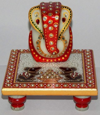 Battlane Elegant Marble murti Lord Ganesh Idol with Chowki