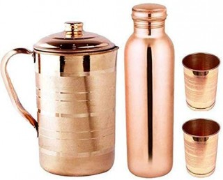 Battlane Combo Pure Copper Bottle+Jug with 2Glasses.