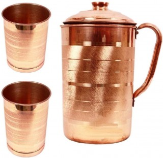 Battlane Copper Jug with 2 Glass (1500Ml of Jug, 350ML of Each Glass)