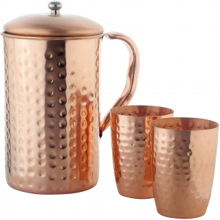 Battlane Copper Hammered Jug with Glass Set