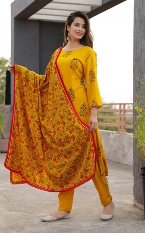 Women Mustard Yellow Printed Kurti with Dupatta