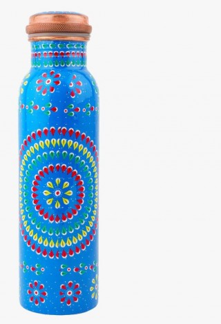 Modern Art Leak Proof Printed Ayurvedic Copper Water Bottle - 1 L