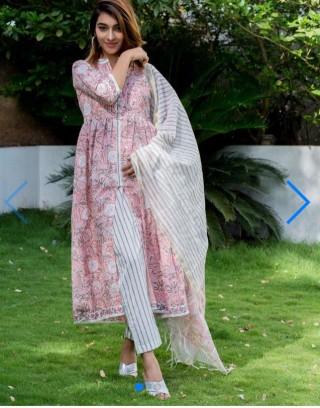 Women Pink Printed Anarkali Kurta with Pant