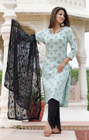 Women Printed Straight Kurta with Dupatta