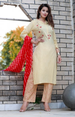 Women Yellow Printed Straight Kurta